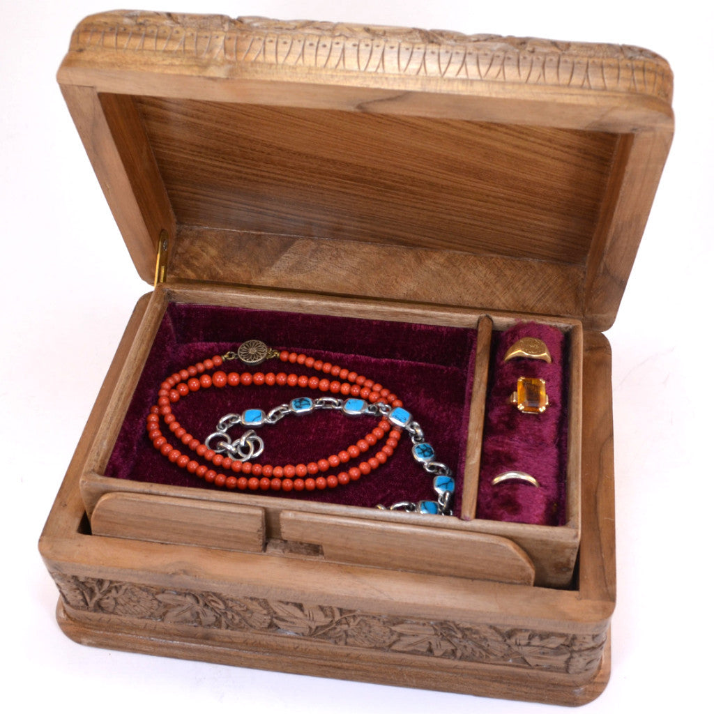 Carved Walnut Wood Box Beautiful Carved Wooden Box With