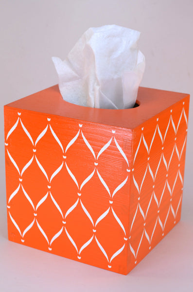 Orange hand painted wooden tissue box cover