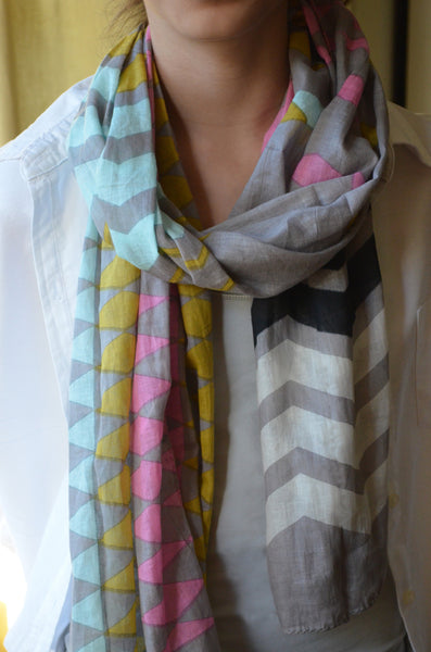 Geometric Print Scarf  on model