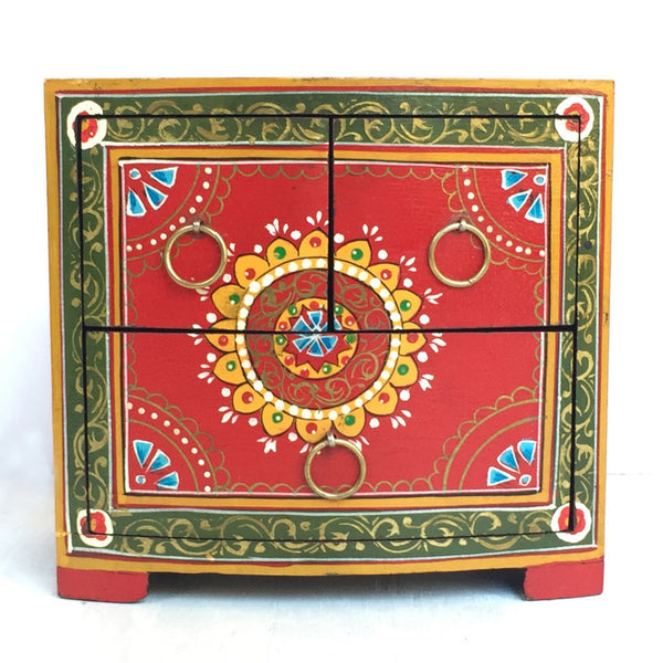 Hand-painted box from India, decorative box, with three drawers