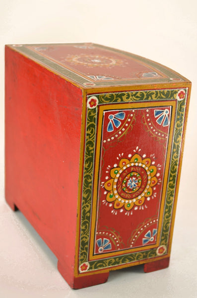 Hand-painted box from India, decorative box, with three drawers, side and back view