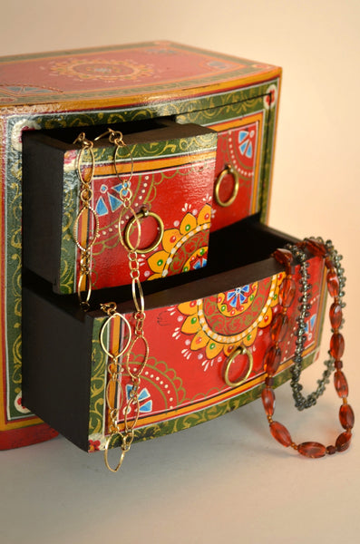 Hand-painted box from India, decorative box, with three drawers, holds jewelry