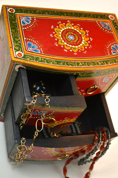 Hand-painted box from India, decorative box, with three drawers, top view