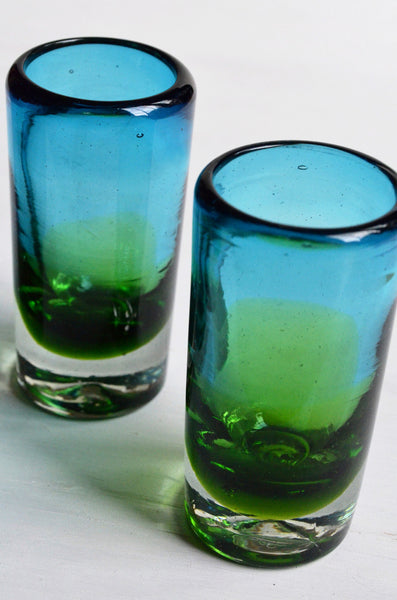 shot glasses, handcrafted, blue and green unique shot glass, 2 shown