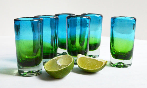 shot glasses with lime, hand blown glass, handcrafted unique shot glass