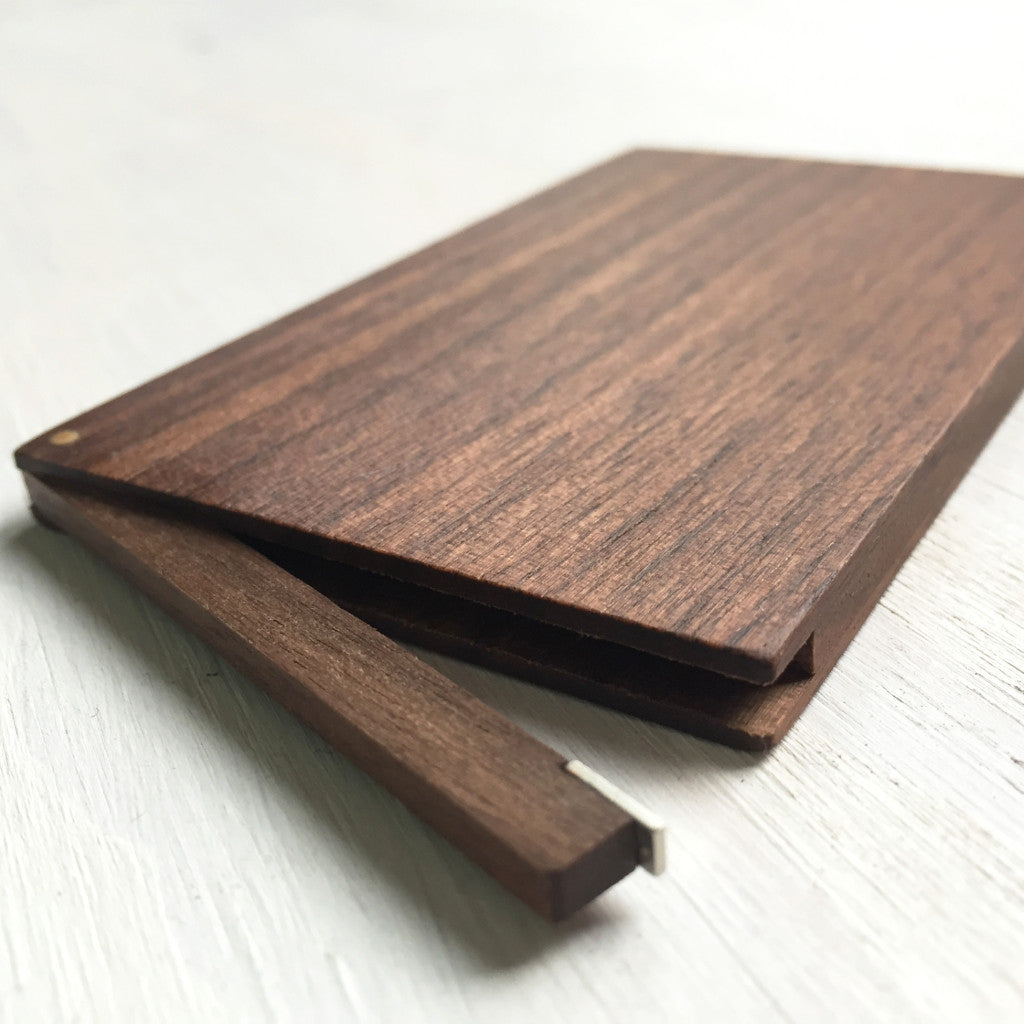 Business Card Case, walnut wood, handcrafted with magnetic closure