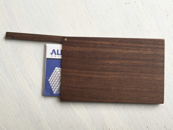 Business Card Case, walnut wood, handcrafted with flip top shown open