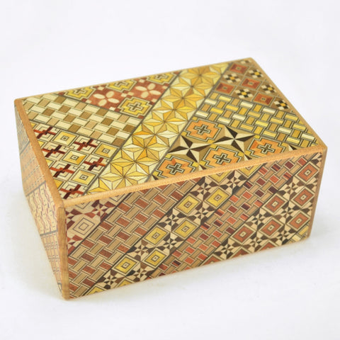 puzzle box | japanese puzzle box with koyosegi pattern, handcrafted
