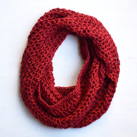 Ruby Red Infinity Scarf