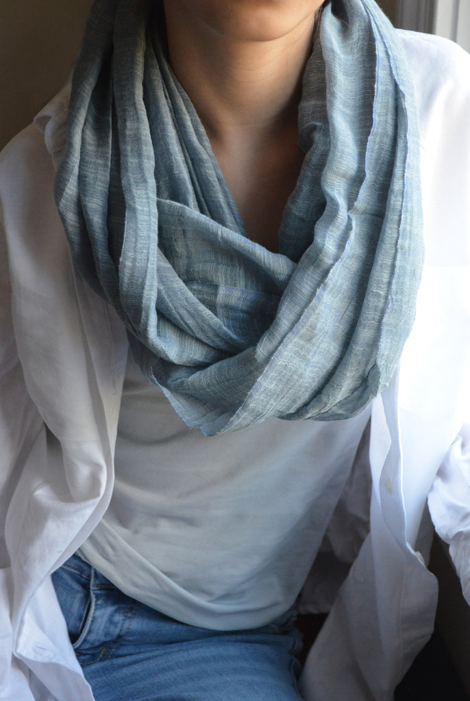 Silky Slate Blue with White Paisley Infinity Scarf