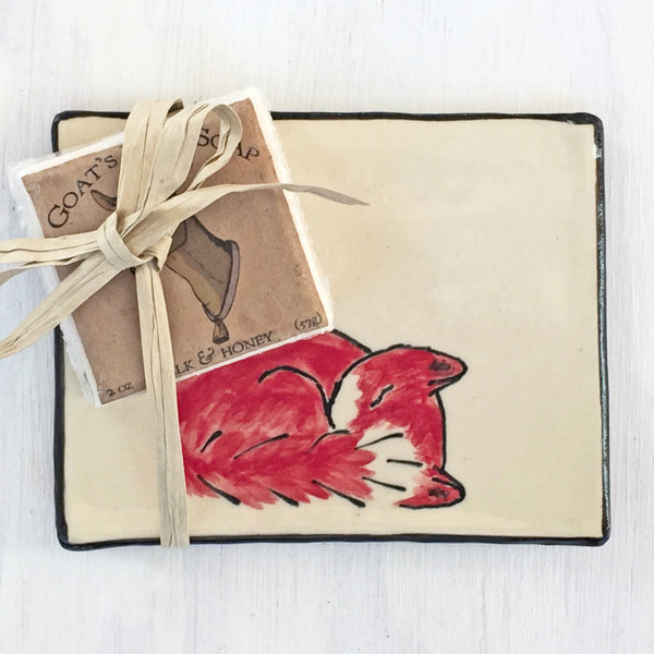 Handcrafted Sleeping Fox Ceramic Tray & Soap Gift Set