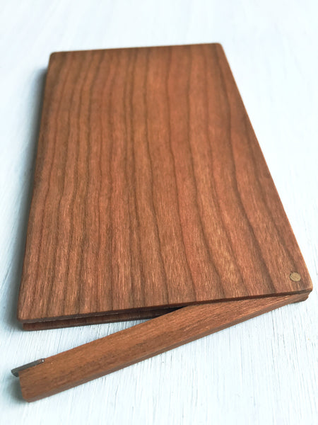 Business Card Case, handcrafted from cherry wood, flip top shown open