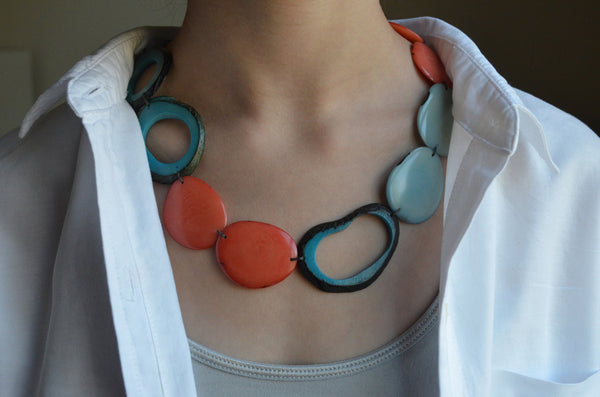 Tagua Nut Statement Necklace Coral and Aqua on Model