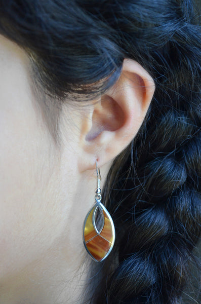 Tiger's Eye Silver Earring Handcrafted in Mexico on Model
