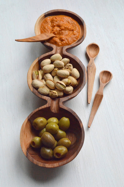 Olive Wood Triple Bowl and Spoon Gift Set with Food