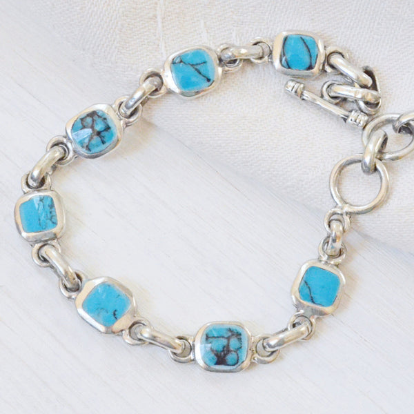 Turquoise and Silver Link Bracelet Handcrafted in Mexico