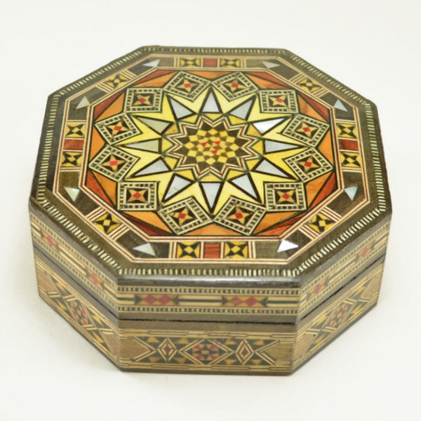 Wood Inlay Box, handcrafted wooden mosaic decorative box