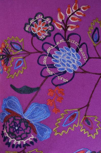 Decorative Pillows | Purple throw pillow with floral embroidery. design detail