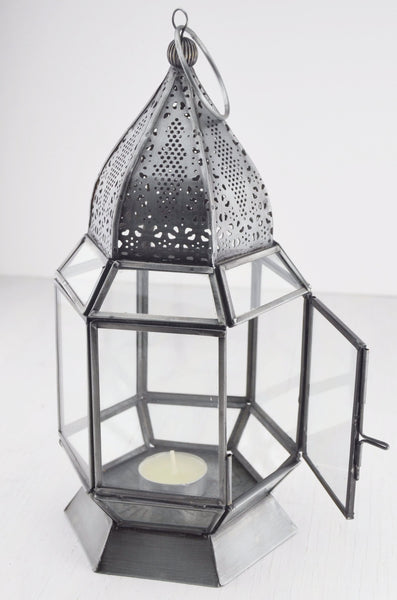 Antique finish moroccan style glass lantern with tea light