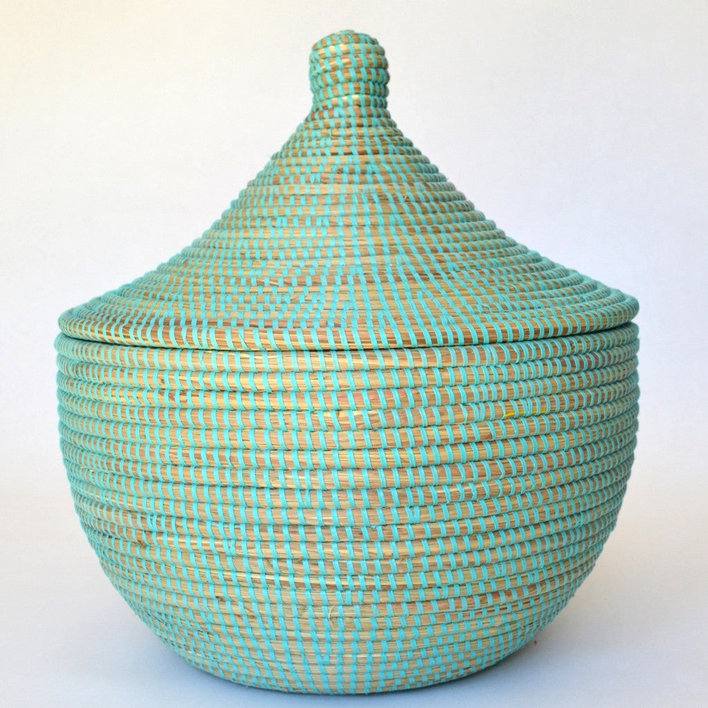 Large Aqua Basket | Handcrafted Box from Senegal | Fair Trade