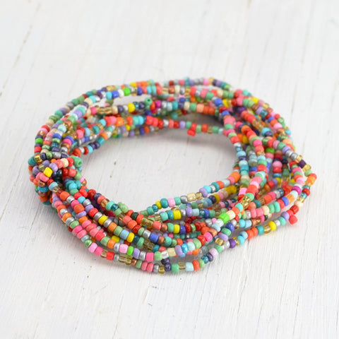 rainbow colored glass beaded multi-strand bracelet