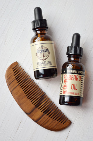 beard grooming gift set for men, includes beard oil and teak wood comb