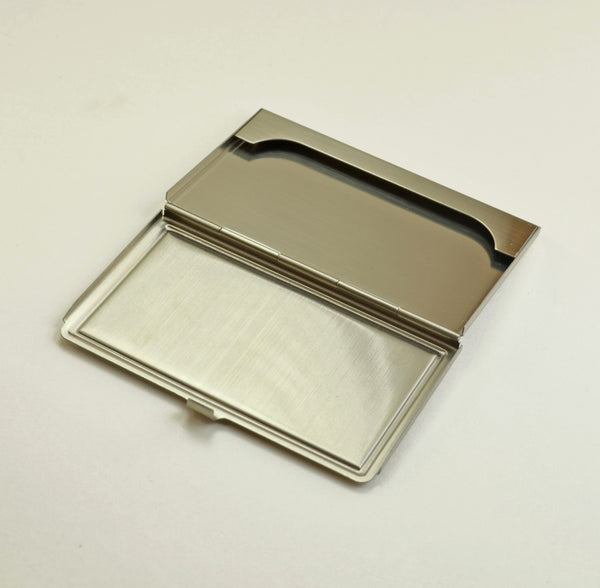 business card case, birds eye maple wood top, brushed steel open view