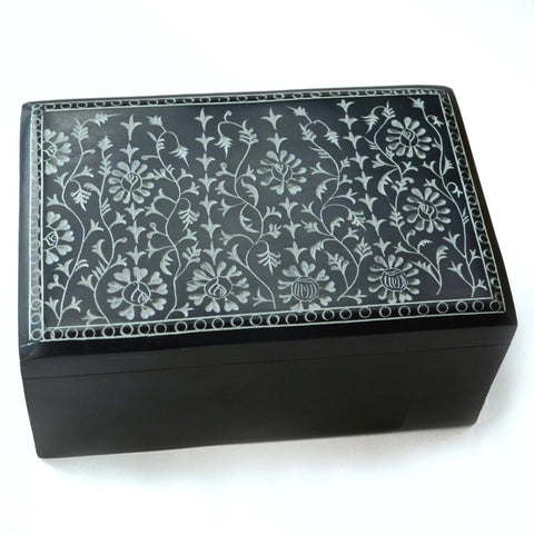 Black Soapstone box | Fair trade, soapstone box, keepsake box