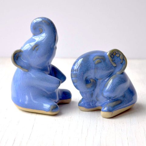 blue ceramic elephants gift set of two figurines