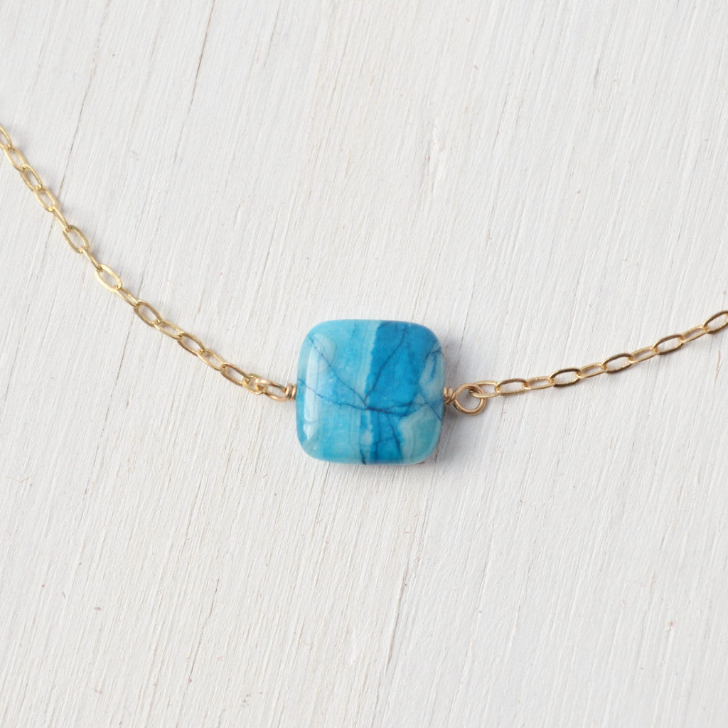 blue stone short necklace with gold chain, handcrafted jewelry