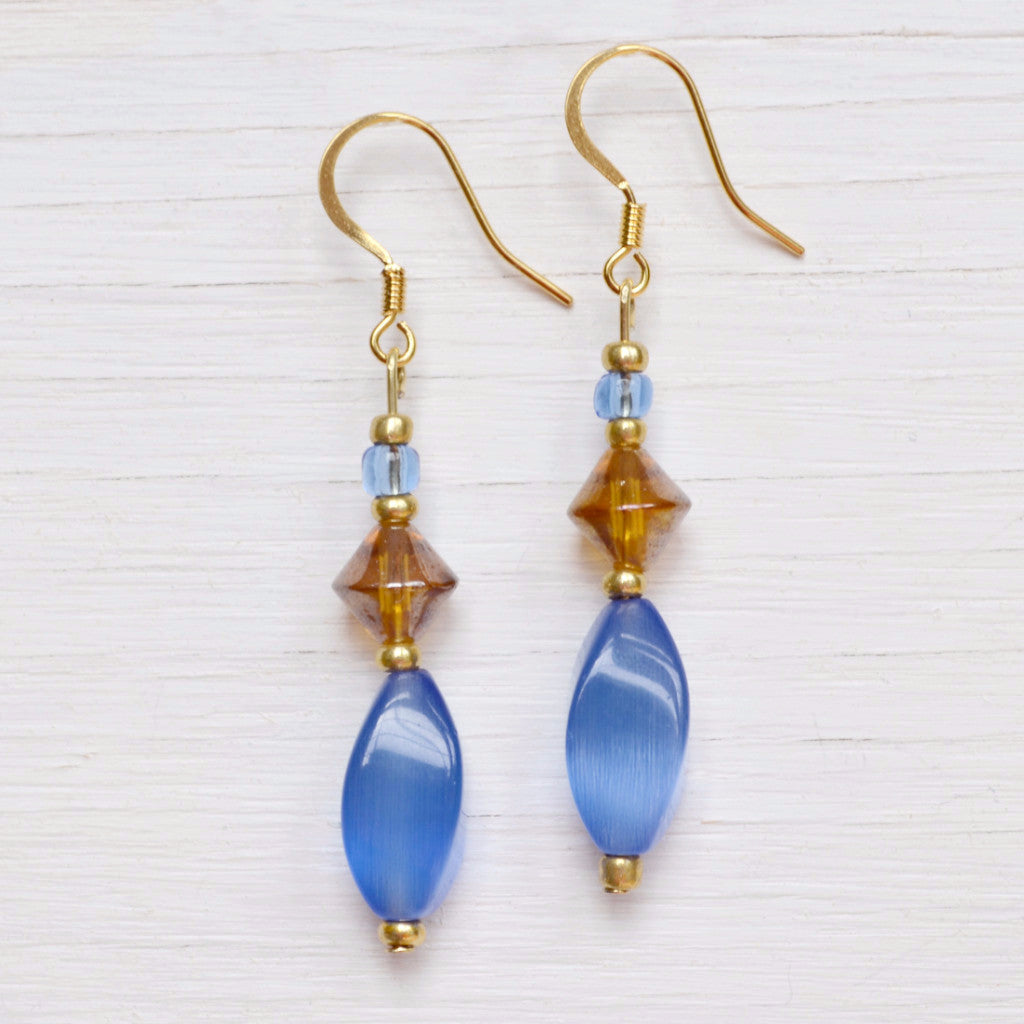 Blue And Bronze Beaded Earrings