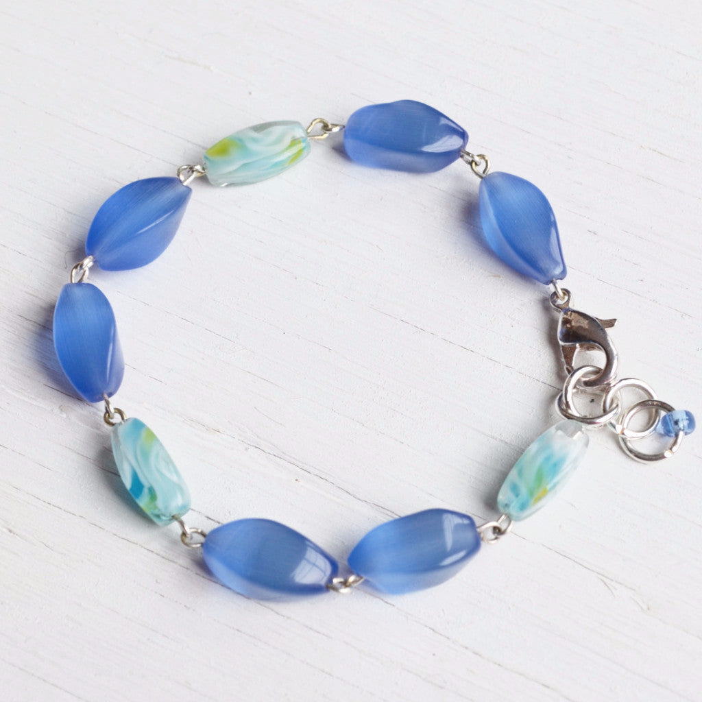 Blue Glass Link Bracelet