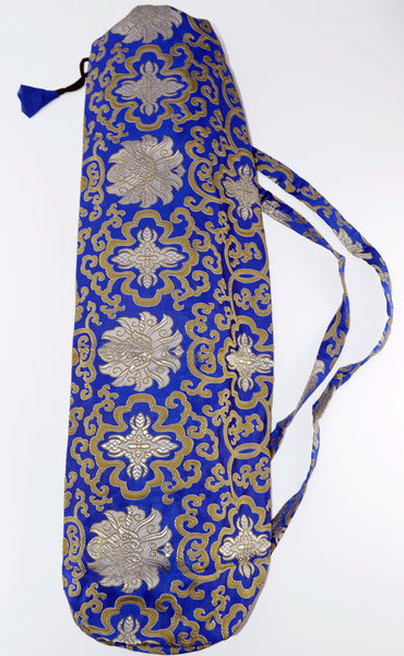 blue silk brocade yoga mat bag