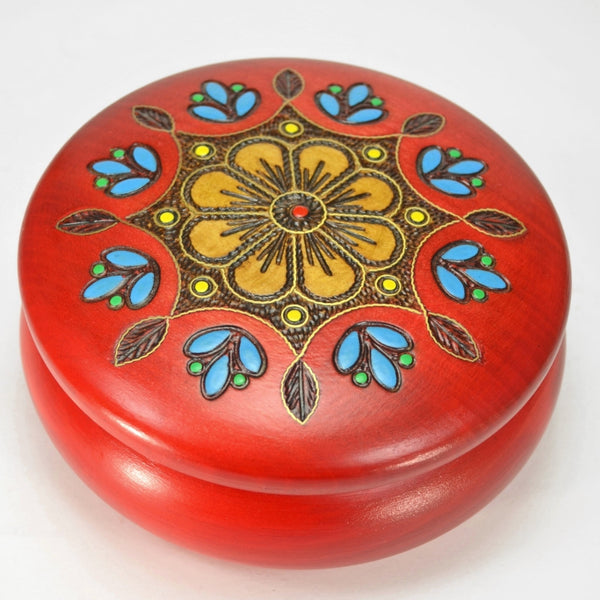 Keepsake box with brass inlay, Polish folk art traditional design