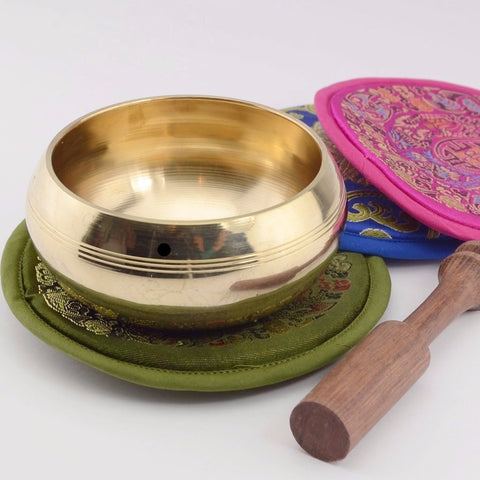 brass singing bowl set with choice of cushion color