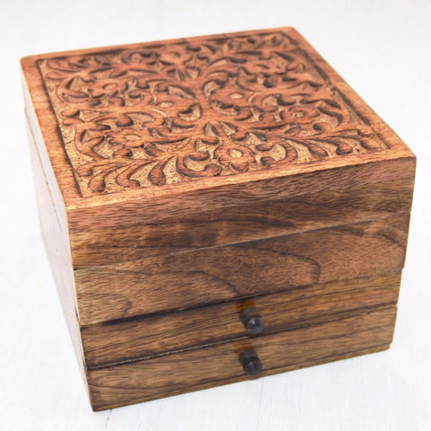 Carved mango wood jewelry box