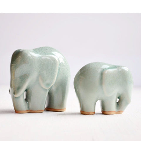 Celadon Ceramic Elephants - Set of 2