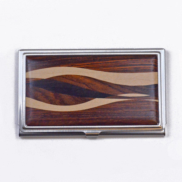 business card case, inlaid wood with cocobolo and ebony wood
