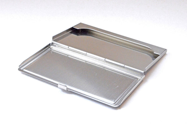 business card case, inlaid wood top, brushed steel open view