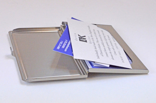 business card case, inlaid wood top, brushed steel open view with cards