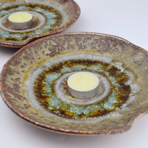 copper glaze ceramic candle plate with crackle glaze