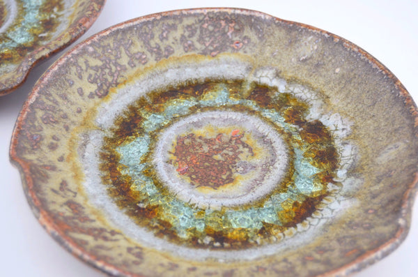 copper glaze ceramic candle plate crackle glaze top view