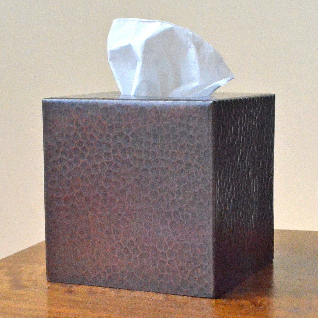 Copper Tissue Box Cover - Hand-hammered copper tissue box cover,Mexico