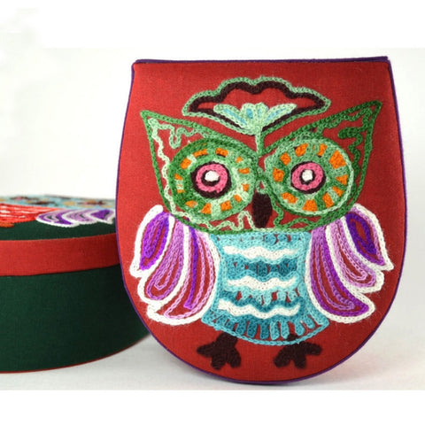 Crewel Embroidery Owl Box | front of owl keepsake box