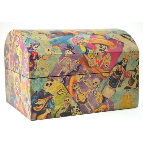 Day of the Dead Decoupage wooden box, dia de los muertos keepsake box
