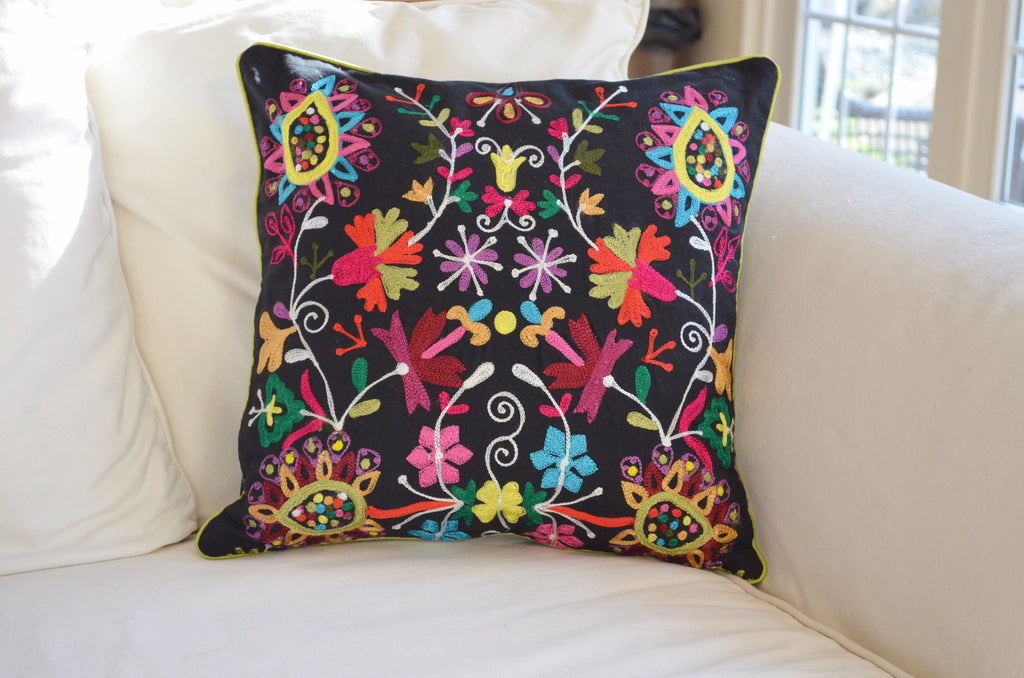 ... Decorative Pillows | Embroidered throw pillow with black and bright  colors on sofa