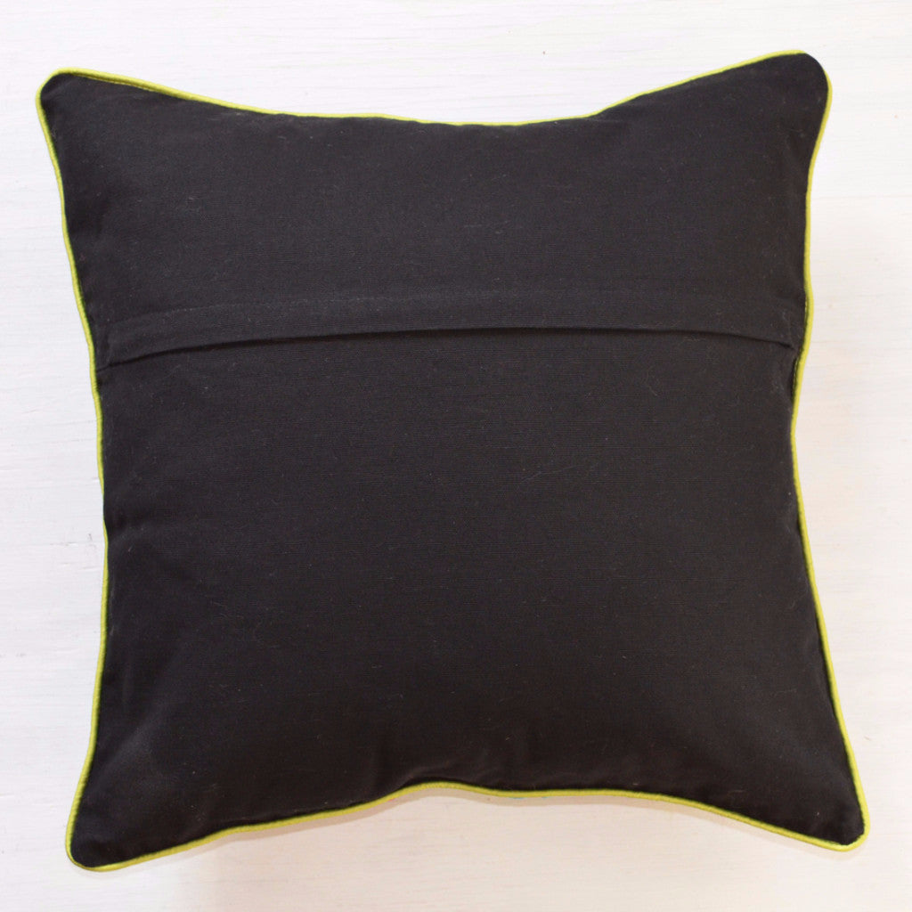 Throw Pillow Black & Bright Embroidered Accent Pillow ? Dogwood Hill Gifts