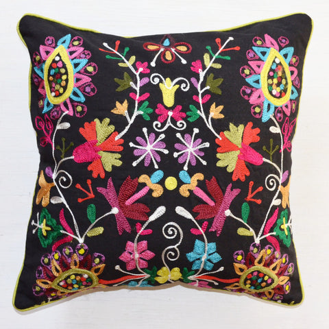 Decorative Pillows | Embroidered throw pillow with black and bright colors