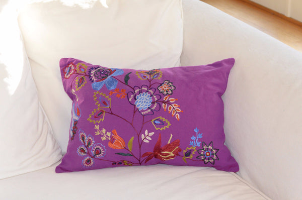 Decorative Pillows | Purple throw pillow with floral embroidery on sofa