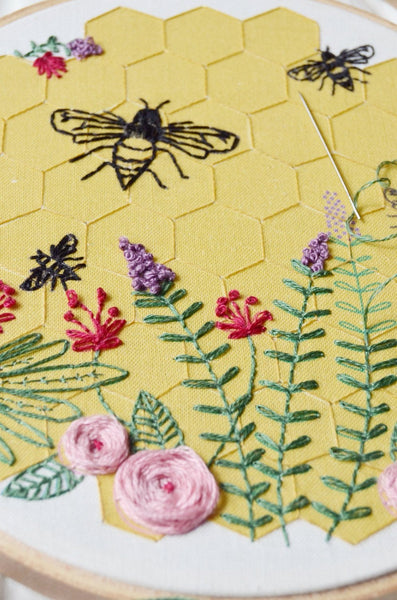 Bee Lovely Embroidery Kit, DIY Supplies Included